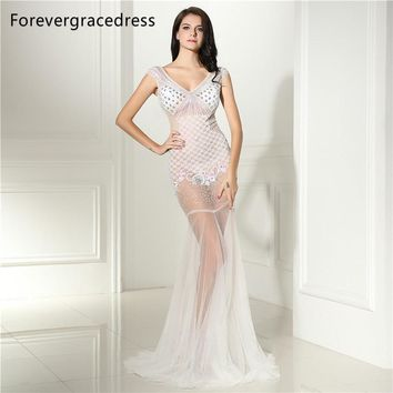 Forevergracedress Sexy Illusion Prom Dress Unique Design V Neck Beaded Crystals Long Formal Party Gown Plus Size Custom Made