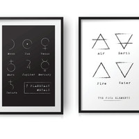 Set of 2 Prints Alchemical Symbols | The 4 Elements Printable | 7 Planetary Metals Print |  50x70 cm Poster