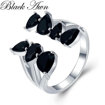 Hygerbole 4.4g 925 Sterling Silver Fine Jewelry Engagement Black Spinel  Engagement Open Rings for Women G030