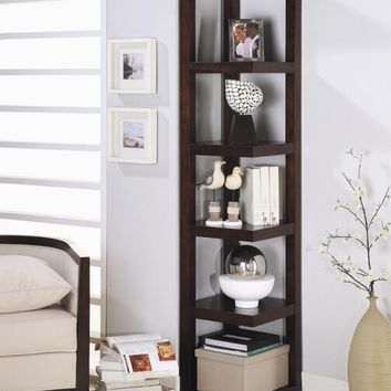 A.M.B. Furniture & Design :: Office Furniture :: Book Shelfs :: Espresso finish wood corner shelf bookcase