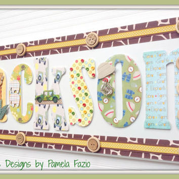 Safari Custom & Personalized Name Plaques - Kids Name Sign - Nursery Door Sign - Wall Letters - Made to Order - Any theme color pattern