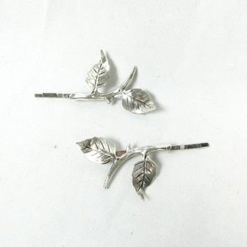 lord of the rings bobby pins - silver leaf barettes - elvish, elves, fairy, fantasy hair clip