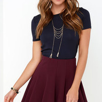 Flare Weather Friend Flared Burgundy Skirt