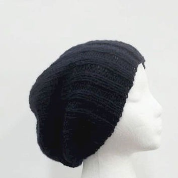 Navy blue slouchy beanie hat handmade men's hats, women's hats 5295