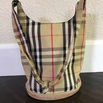 Burberry Women's Purse Bucket Bag Shoulder Nova Check Rubber Sisal Canvas Mini