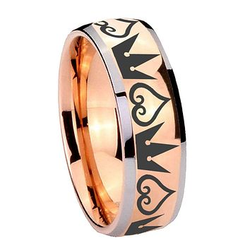 8MM Rose Gold Dome Hearts and Crowns 2 Tone Tungsten Carbide Laser Engraved Ring