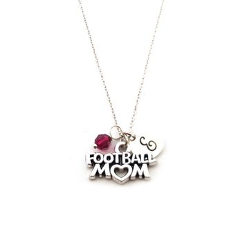 Football Mom Charm Necklace - Personalized Sterling Silver Jewelry