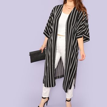 Plus Bell Sleeve Split Side Striped Longline Kimono