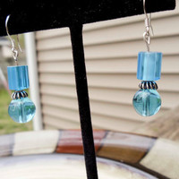 Handmade blue beaded earrings sterling silver findings