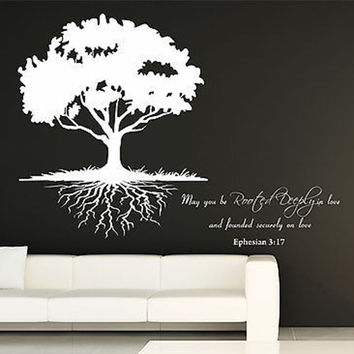 May You Be Rooted Deeply...Quote and Roots Tree Vinyl Wall Decal Sticker.