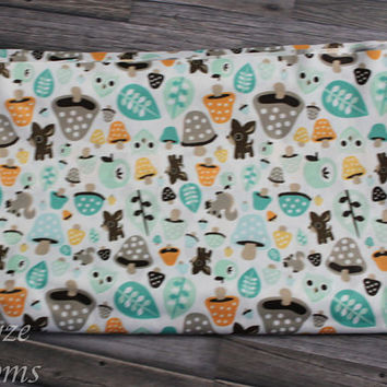 PLEASE READ to ORDER! Deer Woodland Creatures White Background One Size Pocket Diaper or Diaper Cover