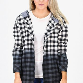 Open Front Buffalo Plaid Hooded Flannel {Black/Cream}