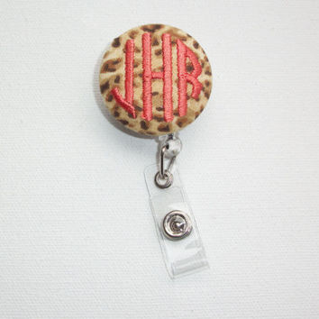 Retractable ID Badge Holder Reel - Fabric Button - cheetah with monogram 3 circle initial custom personalize