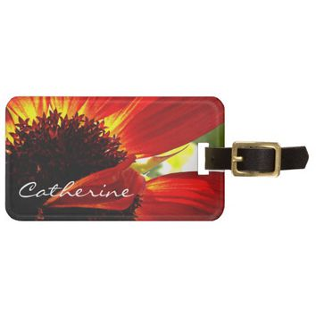 Red yellow daisy photo custom name luggage tag