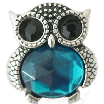 Chunk Snap Charm Owl Colorful Blue Turquoise Stones 20 mm