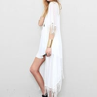 'The Skyler' White Boho Tasseled Long Cardigan