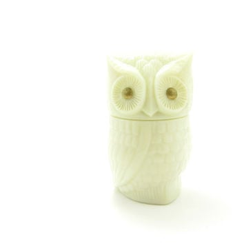 Avon Owl Perfume Bottle Vintage White Glass Cream Perfume Jar Gold Eyes