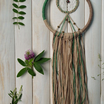 Large Dream Catcher with lace, wool, gemstone, Wall hanging dreamcatcher, Bohemian wall decor, Boho chic, Emerald, Boho roomdecor, Rustic