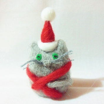 Needle Felted Christmas Cat - Christmas Ornament - 100% corridale wool - needle felted cat - wool felt cat