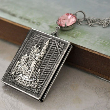 ONCE UPON A TIME antique silver book style castle locket necklace with pink jewel