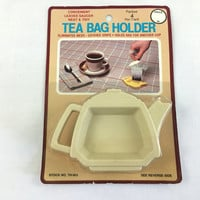 Vintage Tea Bag Holders shaped like Little Teapots Set of 4 Teatime Tea Party Accessories Made in USA