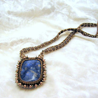 Necklace pendant natural sodalite Beaded Free shipping