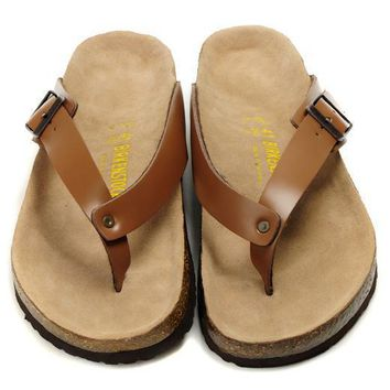 Birkenstock Leather Cork Flats Shoes Women Men Casual Sandals Shoes Soft Footbed Slippers-165
