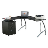 Techni Mobili L-Shape Corner desk with File Cabinet - Espresso