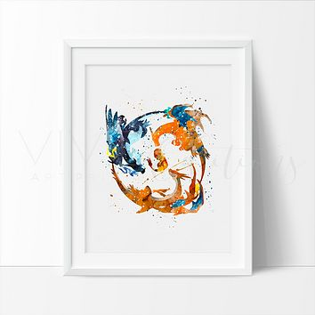 Charmander 2, Pokemon Go Watercolor Art Print