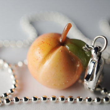 Peach Necklace Pendant, Miniature Food Jewelry Polymer Clay Food Necklace