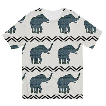 Blue Aztec African Elephant Designs by Amitie Kids Sublimation TShirt