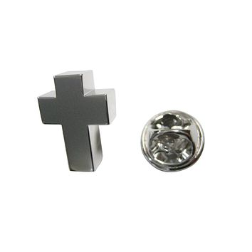 Silver Toned In Loving Memory Ashes Container Religious Cross Lapel Pin