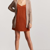 Ribbed Open-Front Longline Cardigan
