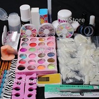 Excellent Gift!! Full Nail Art Set Acrylic Glitter Powder Primer TIP Brush Glue Dust KITS #13