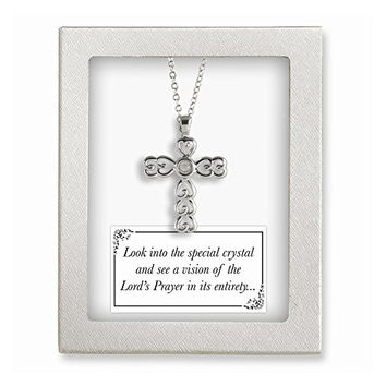 Silver-tone 18in Lords Prayer Crystal Cross Necklace