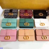 DIOR hot seller Shopping single-shoulder bag with fashionable ladies' monochromatic letter button