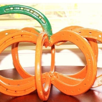 Horseshoe Pumpkin... Pumpkin Decor... Autumn Decor... Real Horseshoes...
