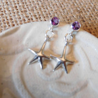 Starfish Dangle Earrings, Amethyst Gemstone, Sterling Silver Post, Gift for Her