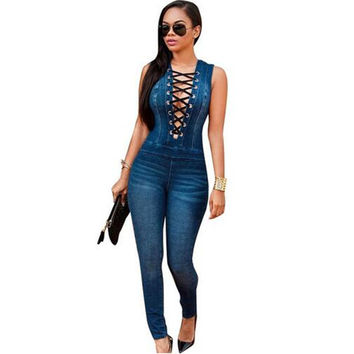 Women Eyelet Button Hole Denim Jumpsuit Lace Up Sleeveless Back Zipper Long Jeans Playsuit Plus Size Bodycon Overalls