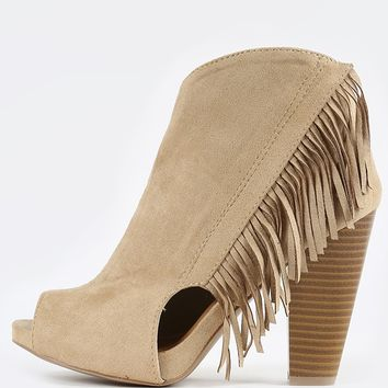 Qupid Bailey-18 Suede Peep Toe Fringe Booties | MakeMeChic.com