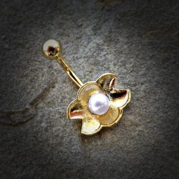 Gold Pearl Ariel's Shell  Belly Button Ring Navel Ring Body Jewelry