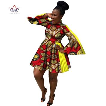 African Plus Size Butterfly Sleeve A-line Dress