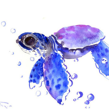 Baby Sea Turtle Painting, blue small watercolor art,12 x 9 in children room art