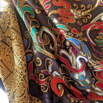 YSL YVES SAINT LAURENT women's Scarf Floral Silk Multi color Brown Gold foulard