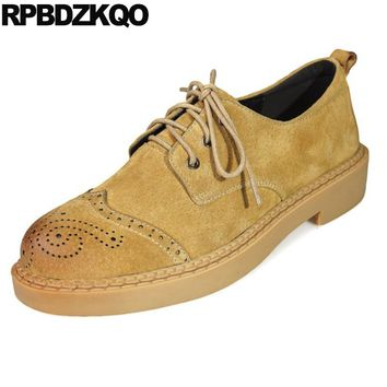 Ladies Retro Flats Suede Vintage Women Oxfords Shoes Size 41 2017 42 British Style Large Yellow Round Toe Lace Up Brogue Coffee