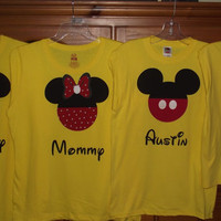 Minnie Mickey Mouse - Disney Birthday Family Custom T-Shirt Personalized Applique Tee Shirt Top