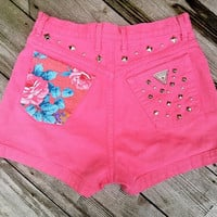 90s Guess Studded Floral High Waist Denim Shorts