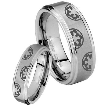 His and Hers Step Edge Star Wars & Galactic Empire Tungsten Silver Wedding Rings Set