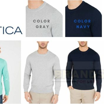 ✅NEW! Nautica Men's Light Weight Crew Neck Solid Sweater, VARIETY/COLOR/SIZE
