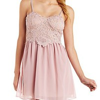 CROCHET LACE AND CHIFFON SKATER DRESS